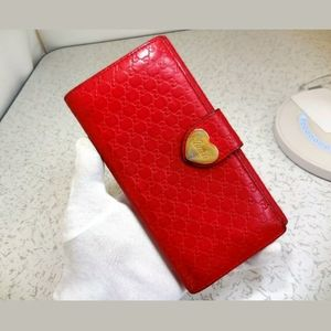 Auth Gucci micro GG long leather wallet
